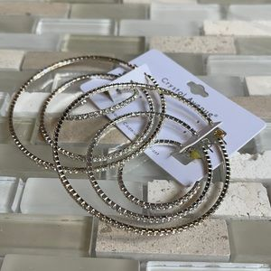 NWT Set of 3 Rhinestone Lightweight Crystal Hoops